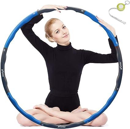 f/ür Erwachsene oder Kinder 90cm Fitness Rostfreier Stahl Hula Hoop zur Gewichtsabnahme mit Schaumstoff ca 1,2 bis 3,2 kg mit Mini Bandma/ß,Breite verstellbar Synchain Hula Hoop Reifen Erwachsene