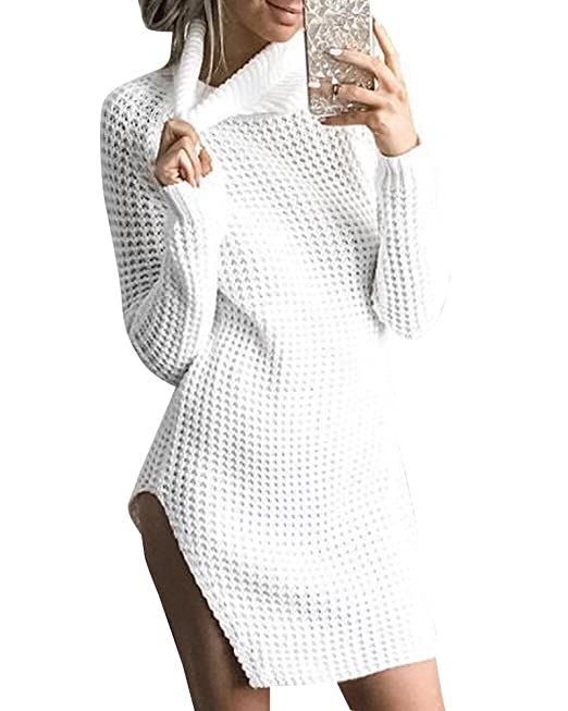 Camisetas De Manga Larga Suéter Lado Dividida Jersey Para Mujer Cuello-alto: Amazon.es: Ropa y accesorios