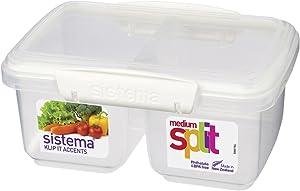 Sistema 1 Litre Polyproplene Split Food Storage Container, Multi-Color