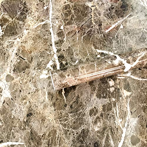 Brown Marble Paper Adhesive Granite Vinyl Wrap Film Kitchen Contact Paper Peel Stick Wallpaper Decor Shelf Liners 12inch x 79inch (Brown) ()
