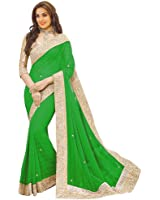 Floral trendz Women's Chiffon Saree With Blouse Piece (Priya Perrot_Parrot)