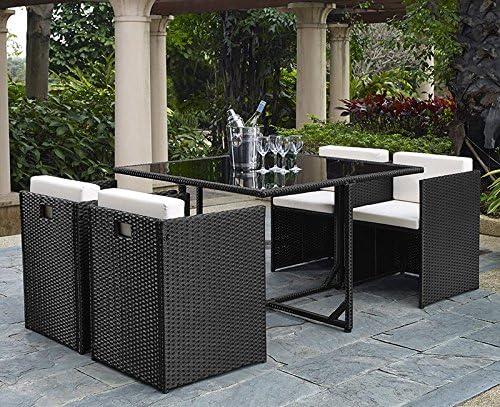 Corner-Set de mesa y sillas de jardín resina trenzada, color negro ...