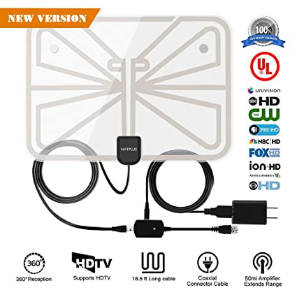 TV Antenna,2018 Upgrade Digital HDTV Antenna Best 50+ Miles Range with Amplifier Signal
