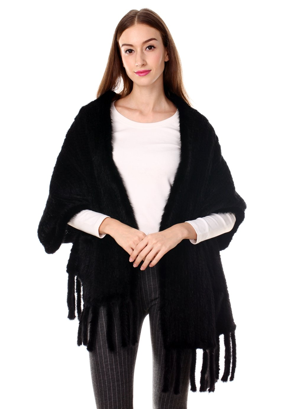 Ferand Lightweight Long Knitted Real Mink Fur Shawl with Tassels and Pockets for Women, Black