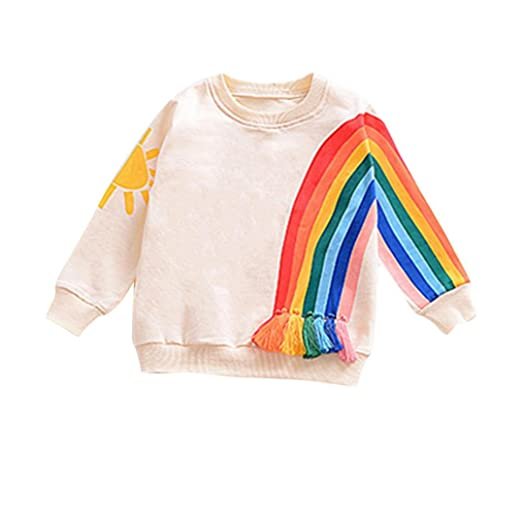 228367429711e Minisoya Baby Girls Boys T-Shirt Toddler Newborn Infant Long Sleeve Tassel  Sweatshirt Rainbow Tops