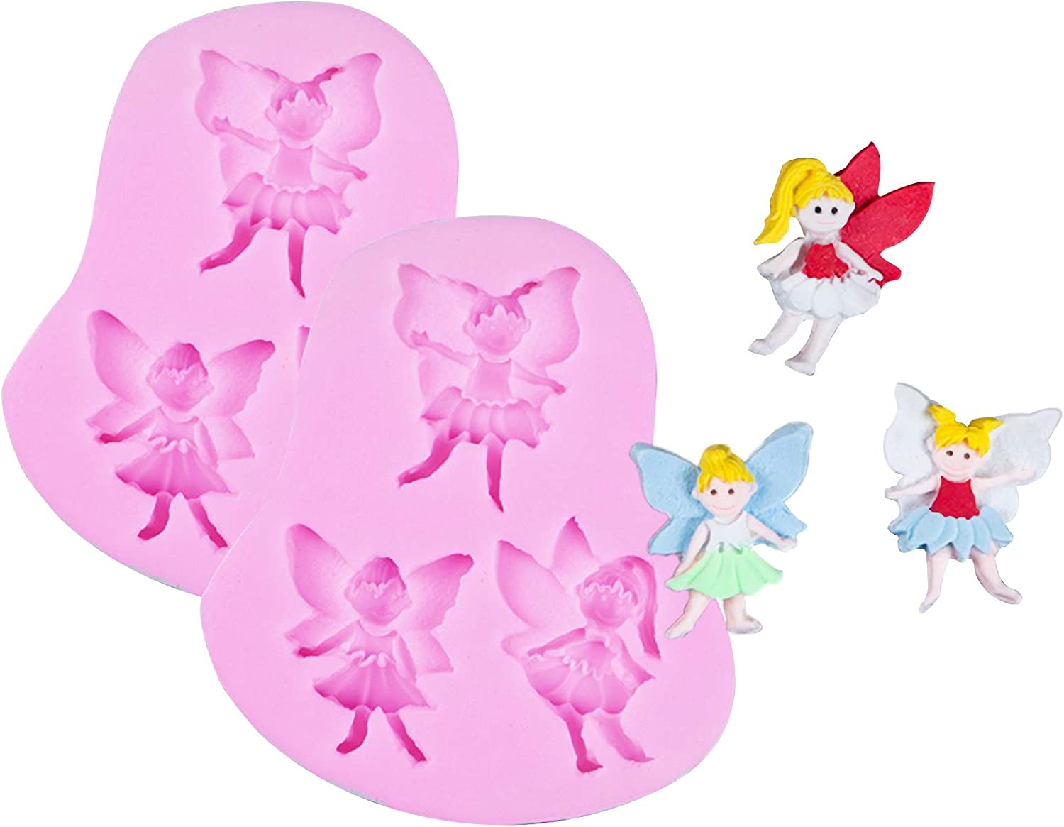 HengKe 2Pcs Small Flower Fairy Angel Girl Silicone Mold Fairy Fondant Baking Handmade Soap Polymer Clay Mold Chocolate Sugarcraft Molds For Jewelry, Polymer Clay, Crafting Projects, Candy Pudding