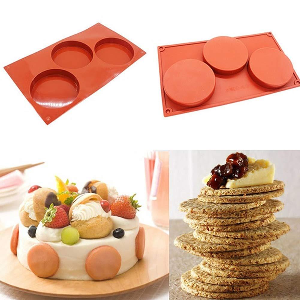 Braceus 3 Holes Silicone Disc Cake Pie Custard Mold Chocolate Bakeware Kitchen Tool Coffee