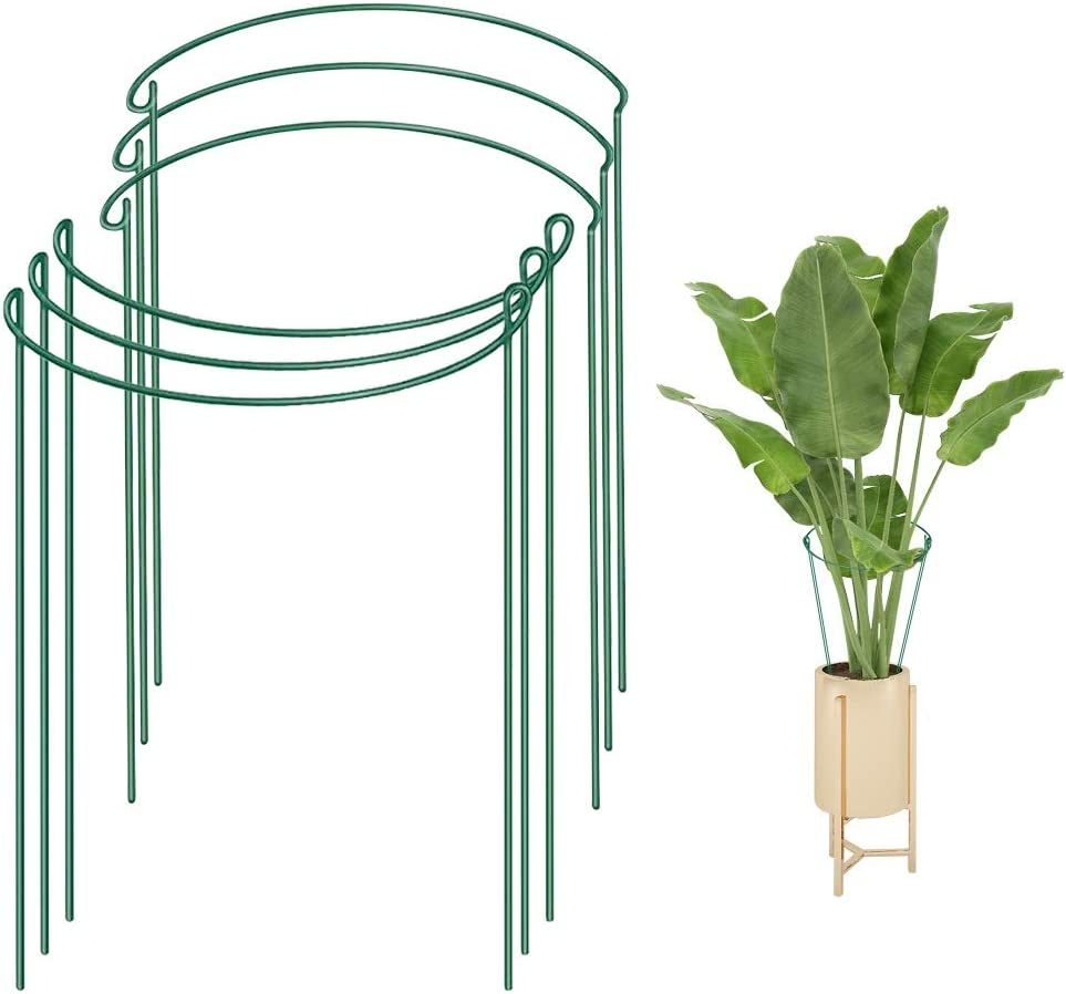 """Plant Support Stakes,6 Pack Metal Garden Plant Stakes,Green Half Round Plant Support Rings, 7.8"""" Wide x 13.7"""" High Garden Border Supports,Steel Plant Cages Support Rings for Tomato,Hydrangea,Rose,Vine"""