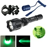 WindFire® WF-802 350 Lumens Waterproof 18650 Battery Tactical Flashlight 250 Yard Long Range Throwing Green Hunting Light Green Cree LED Coyote Hog Hunting Light Lamp Torch with Remote Pressure Switch & Barrel Mount for Hunting Fishing (Battery not included)