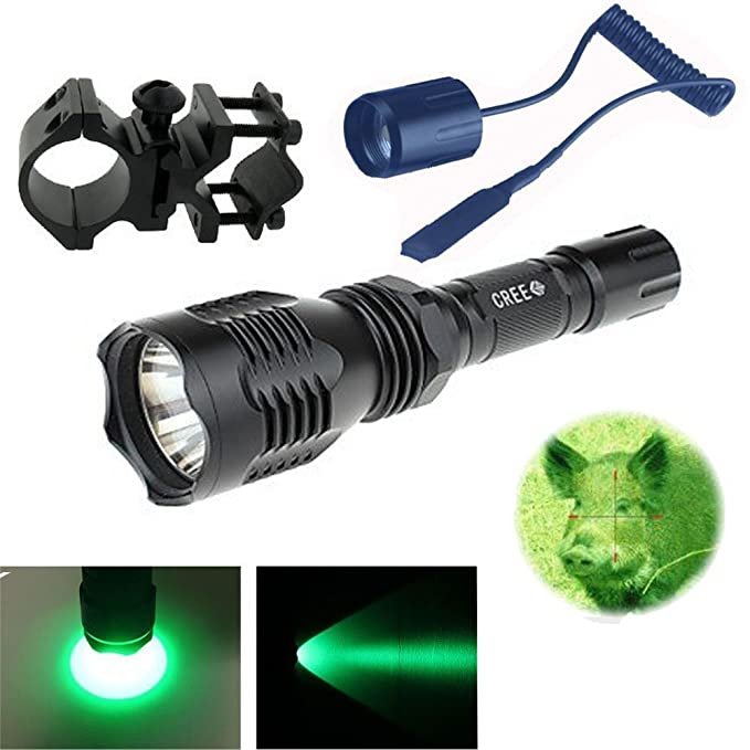 WindFire Wf-802 350 lumens 228,6 m longue port/ée Vert clair LED Coyote Hog Chasse lampe torche avec interrupteur de pression /à distance /& 2,5 cm Scope support batterie ne sont pas inclus