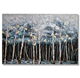 "In Liu Of | Modern Oil Painting on Canvas ""Cold Winter Lights"" (White Birch Trees) Contemporary Wall Art, Fine Acrylic Finish 
