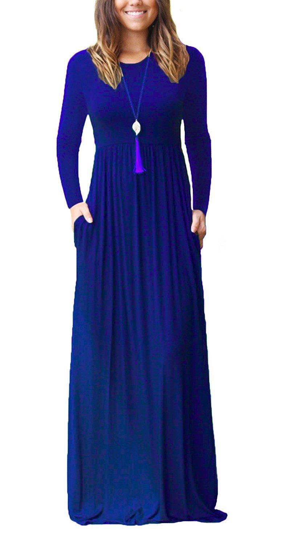 HIYIYEZI Women Round-Neck Loose Plain Maxi Dresses Casual Long Dresses with Pockets (2XL, 01 Royal Blue- Long Sleeves)