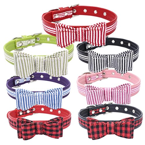 Wakeu Pet Collar, Small Dog Collars Stripe Plaid with Bow Tie Necklace Puppy Cat (M, Black+White...