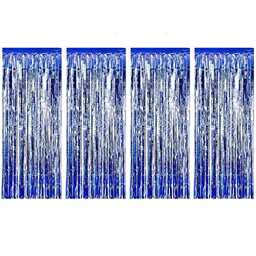 SENREAL 4pack 6.5x3.2 ft Foil Curtains Metallic Fringe Curtains Backdrop Panel Room Divider Wedding Birthday Party Decoration Drapery,Tinsel Curtain Blue