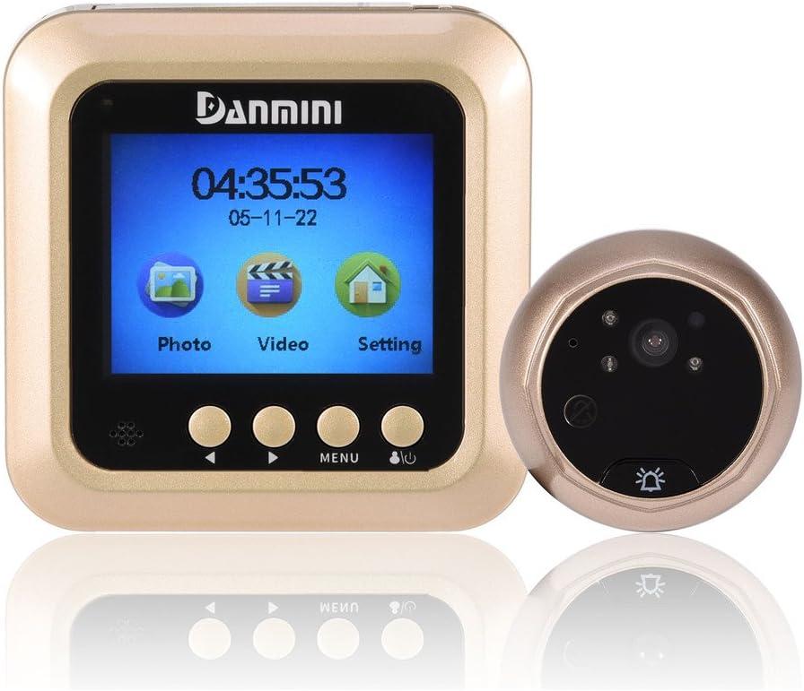 Funciones FIFO Monitor de c/ámara con Timbre Inteligente Visi/ón Nocturna garsent 2.42MP HD TFT LCD Visor Digital con c/ámara de Mirilla de Puerta con /ángulo de visi/ón de 160 /°