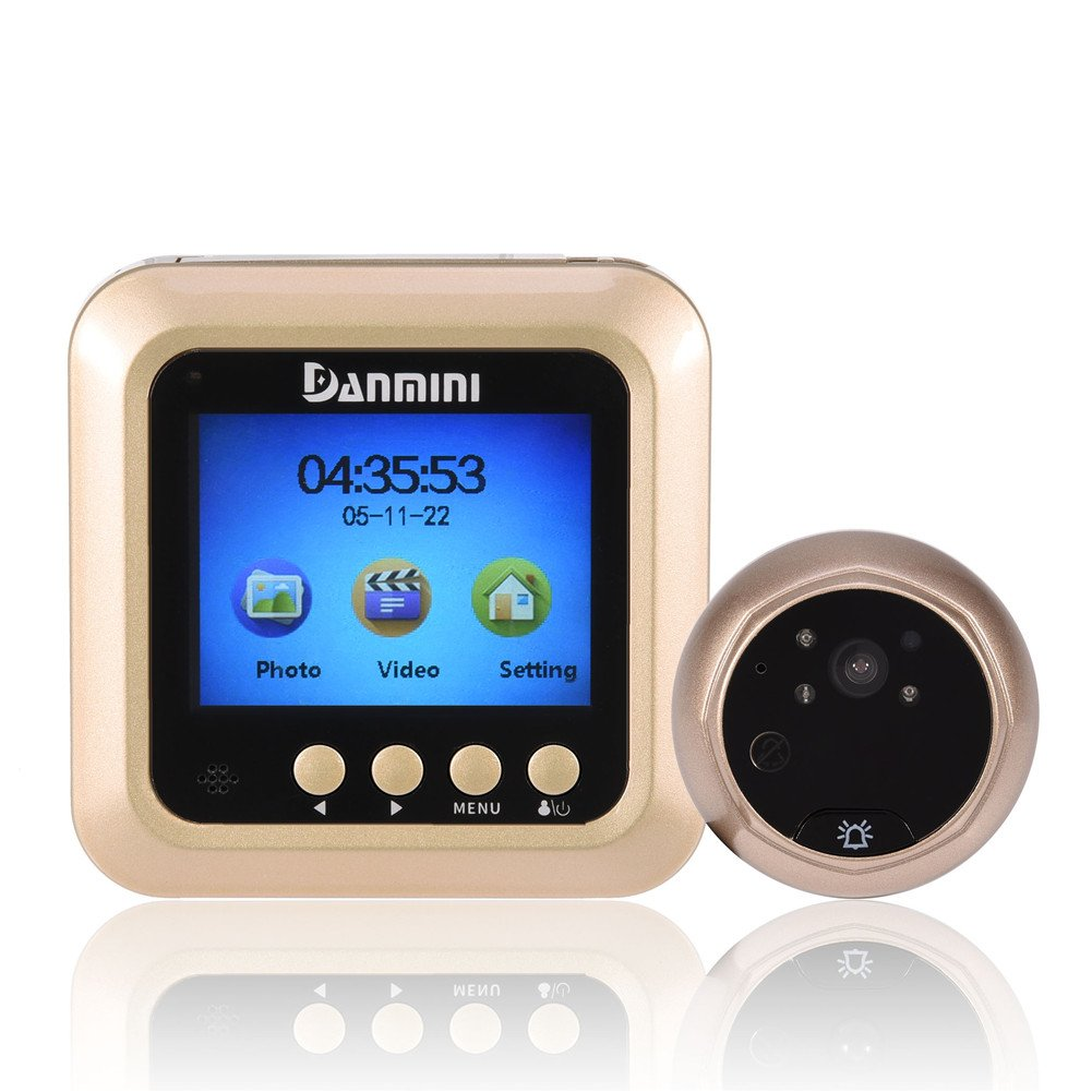 c/ámara de Seguridad con Visor de visi/ón Nocturna a 160 /° HD y Timbre Zerone Mirilla para Puerta Inteligente TFT LCD de 2.4