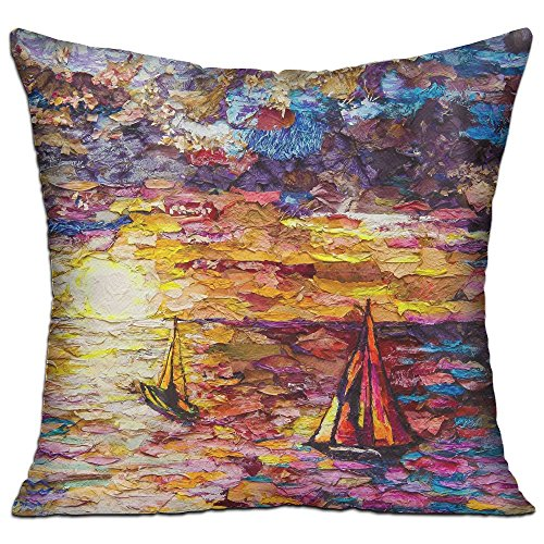 Lyle Clegg Pillows Filling Stuffing Linen Durable Art Painting Sailboats Cushion Insert Filler Square (Boat Chairs Lounge Deck)