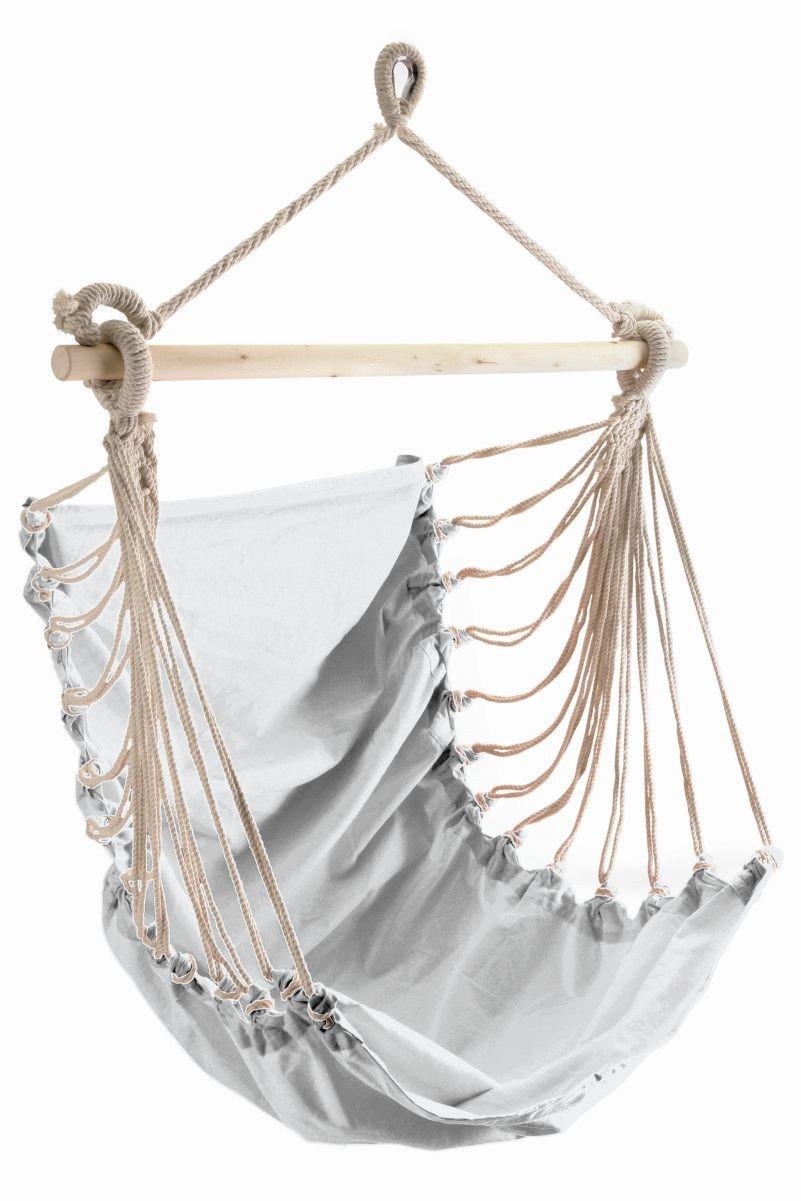 Poltrona pensile FASHION bianco con bastone e corda di sospensione 85 x 160 cm, portata 110 kg Leguana Handels GmbH