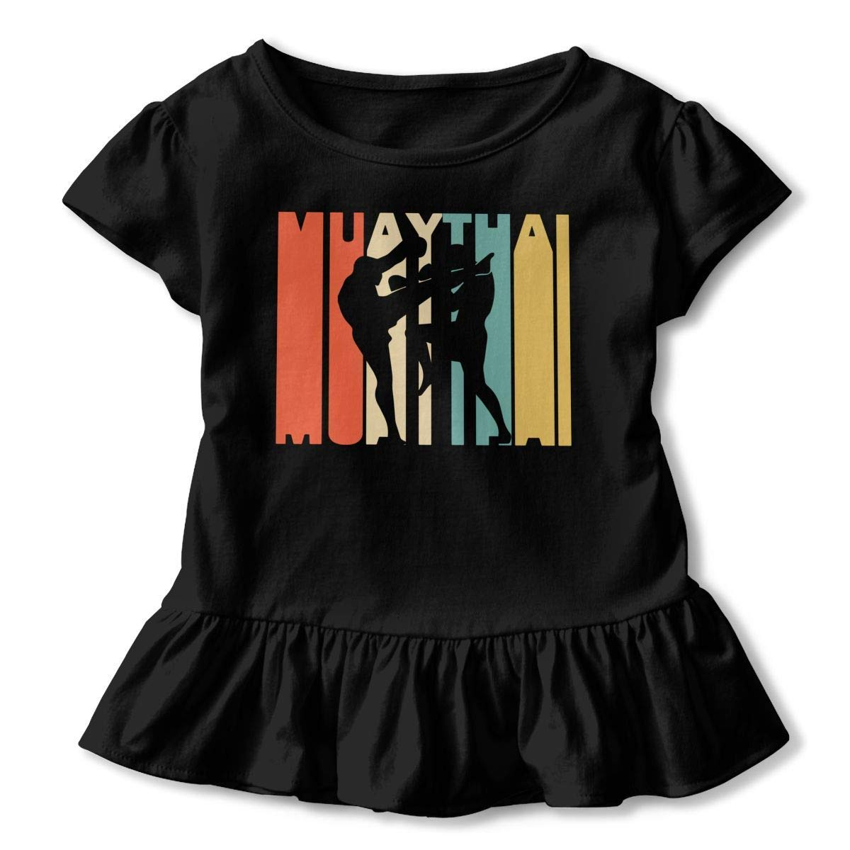 2-6T Short Sleeve Retro Style Muay Thai Silhouette T-Shirts for Children Ruffled Tunic Tops with Falbala