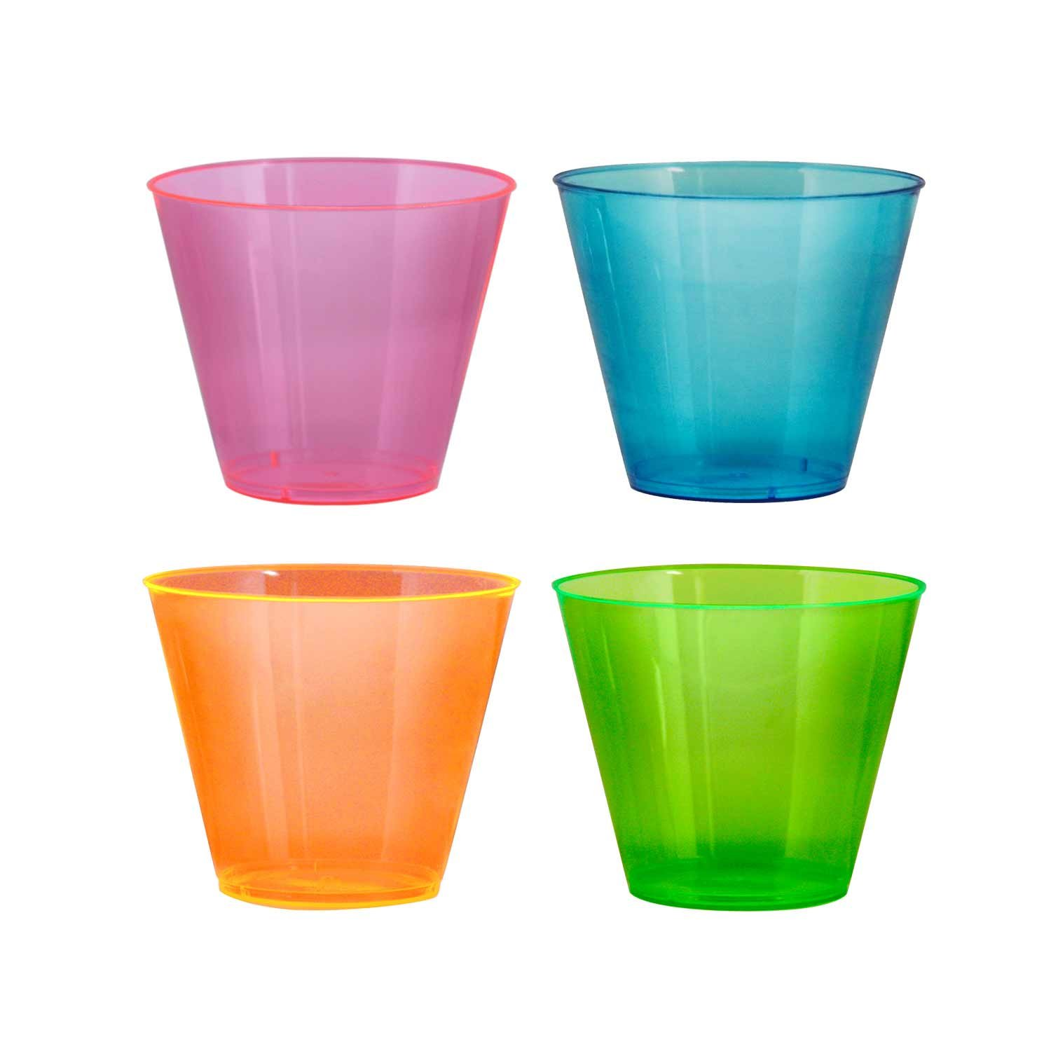 Party Essentials Hard Plastic 9-Ounce Party Cups/Old Fashioned Tumblers, 100-Count, Assorted Neon