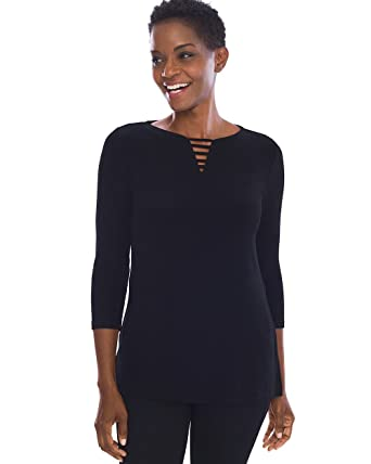 27a2aa0a0a209 Amazon.com  Chico s Women s Travelers Classic Neck-Detail Top  Clothing