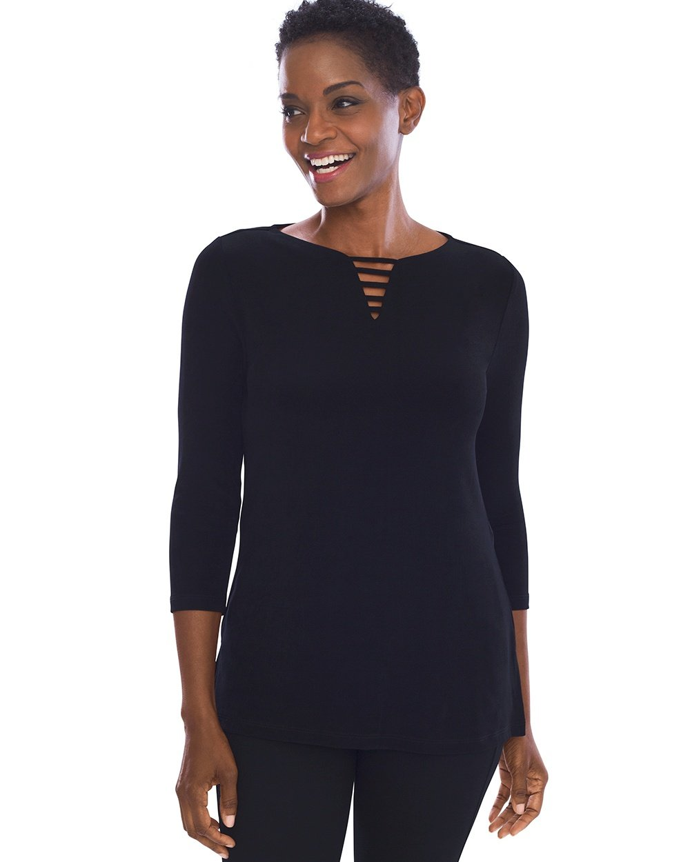 Chico's Women's Travelers Classic Neck-Detail Top Size 16/18 XL (3) Black