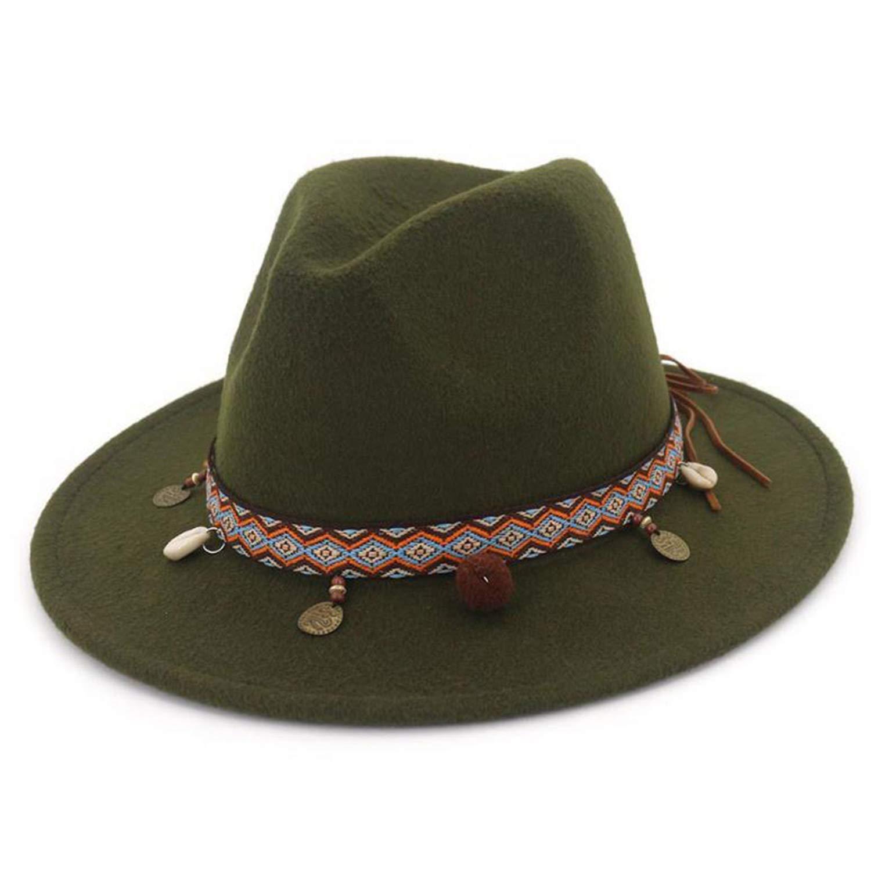 Hats for Women Ethnic Style Wool Felt Hat Female Wide Brim Casual Ladies Autumn Holiday Jazz Caps Fashion