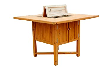Leisure Season Cooler Table, Solid Wood, Decay Resistant