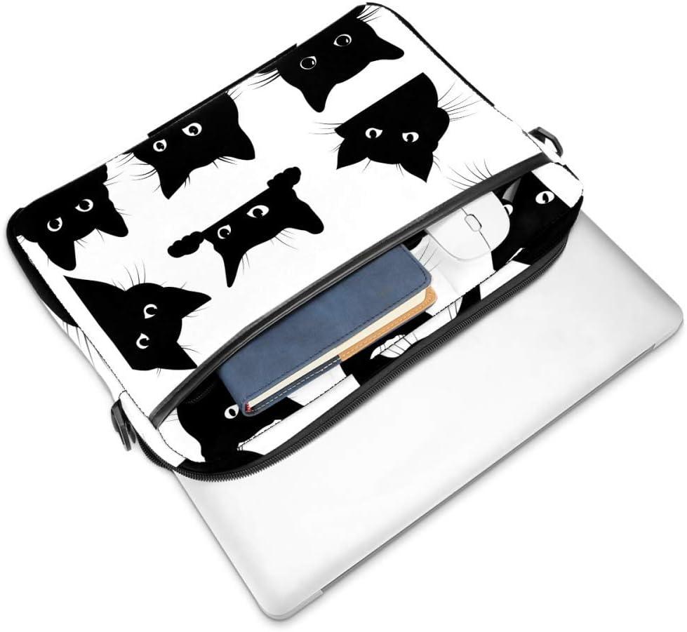 TIZORAX Sacoche pour ordinateur portable avec poign/ée pour chat Noir 15,4 pouces