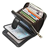 Women's Leather RFID Blocking Spacious Cute Zipper Credit Card Holder Wallet Women Card Case Small Purse (Black)