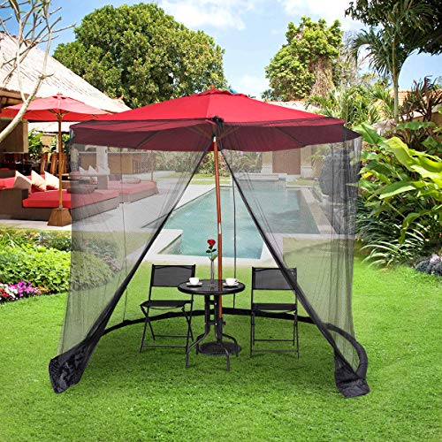 Tangkula 9/10FT Patio Umbrella Screen, with Zipper Door and Polyester Mesh Netting, Height and Diameter Adjustable, Suitable for Outdoor Patio Camping Umbrella (Umbrella Netting With)