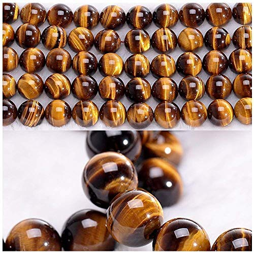 (Chengmu 8mm Tiger Eye Beads Natural Gem Round Loose Beads for Jewelry Making for Bracelet Necklace )