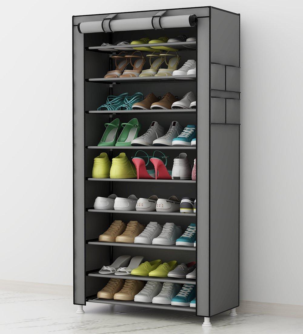 UDEAR Zapato del del del gabinete Zapatero de Tela 10 Niveles Zapateros y hormas para Zapatos Gris 288bc2