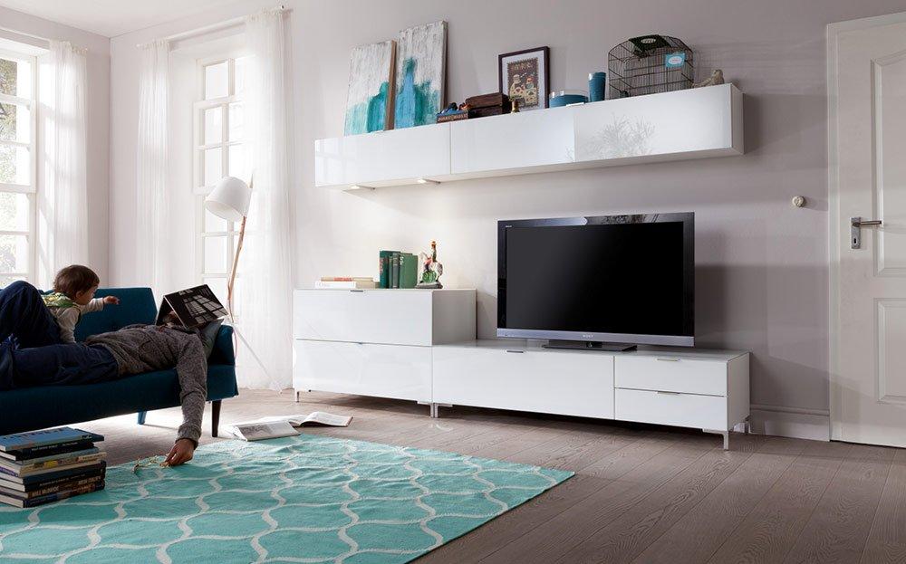 Anbauwand In Weiß Mit Glas Tv Unterteil B Ca 163 Cm Kommode B