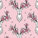 Deer Fabric - Deer Pink by caja_design - Deer Fabric with Spoonflower - Printed on Cotton Spandex Jersey Fabric by the Yard
