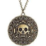 Elegante confezione di velluto, colore: bronzo, motivo: Pirati dei Caraibi con medaglione (Fancy Dress)-Collana con ciondolo a forma di teschio
