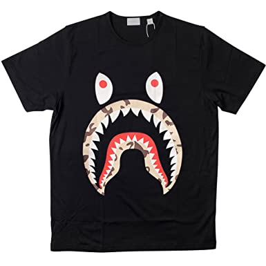 3addd771 Norlma a bathing ape shark for men T shirt Large Black: Amazon.co.uk:  Clothing