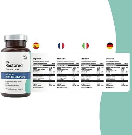 5-HTP, magnesio, cereza Montmorency, melatonina natural para mejorar el sueño, complejo vitamínico B, manzanilla, triptófano L, fabricado en el Reino Unido por The Restored…: Amazon.es: Salud y cuidado personal