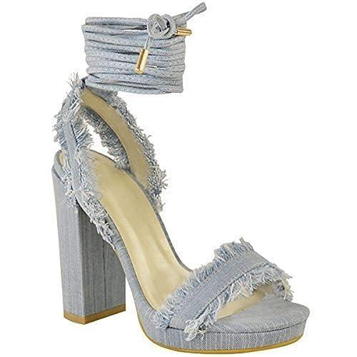 Jeans Alti Donna Tacchi Lacci Con Da Blocco Sandali Cinturino cjLR3A54q