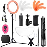 Hakutatz Dimmable 18 inches LED 55W 240LEDs SMD 5500K Ring Light Kit with Bag,Filter Set,Extended Mini Ball Head,Cellphone & iPAD Clip Holder,Mirror,Bluetooth Receiver,Soft Tube,Screwdrive,Light Stand