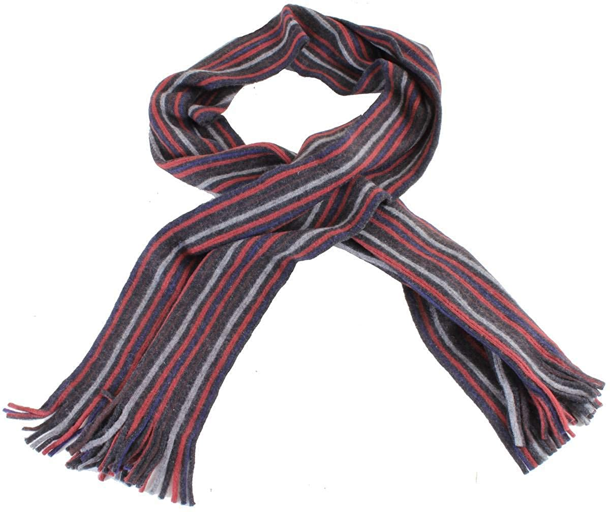 Bassin and Brown Mens Banks Striped Cashmere Scarf Red//Grey