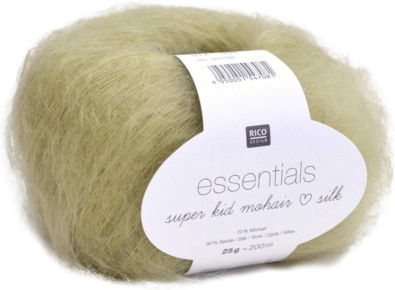 Farbe 008 Silber Rico Design Essentials Super Kid Mohair Silk Fil 25/g/-/Lace pour lingettes Fine