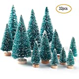 Mini Sisal Christmas Tree, 24pcs Artificial Mini Pine Trees Snow Frosted Bottle Brush Trees with Wooden Base,4 Sizes, Plastic Christmas Mini Tabletop Trees for Crafting, Displaying and Decoration