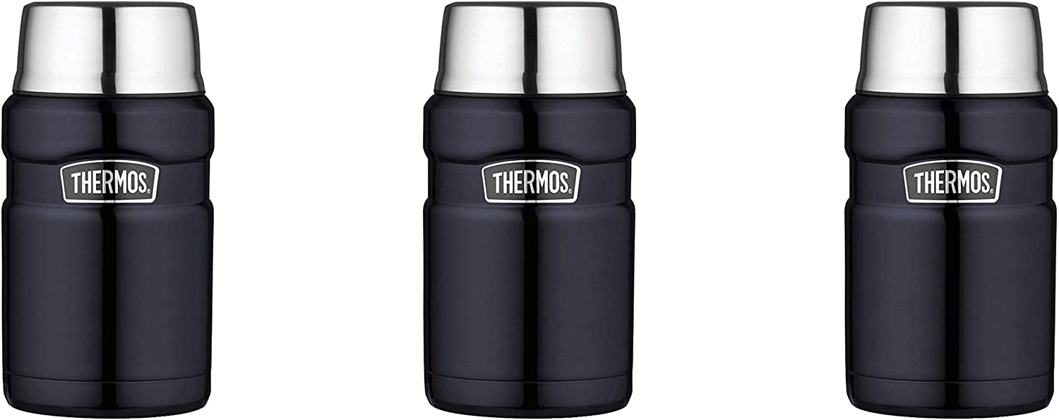 Thermos Stainless King 24 Ounce Food Jar, Midnight Blue, 3 Pack