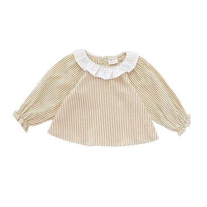 7933caf0cfe27 ALLAIBB ベビー服 ワンピース シャツ 長袖 ベルベット ブラウス キッズ 女の子 春 秋 size 80 (イエロー)