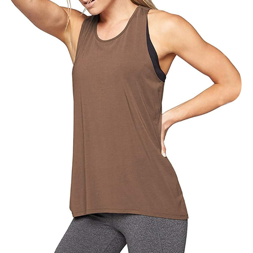 Leoy88 Women Training Yoga Gym Waistcoat Blouses Running Jogger Sport Vest Tops Brown by Leoy88 (Image #1)