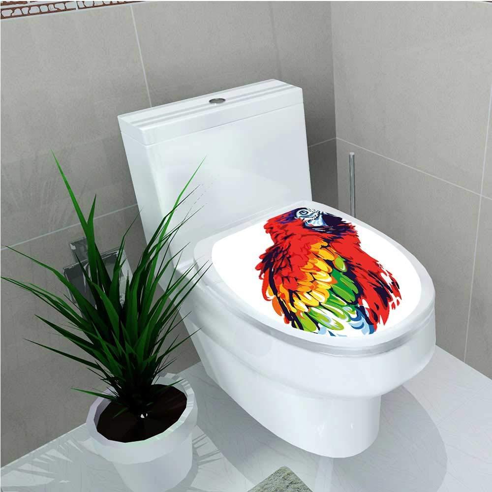 aolankaili Toilet Sticker Parrot Bird in Vibrant Tones Wildlife Tropical Wings Artistic Illustration Multicolor W12 x L14