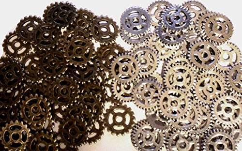 [Gears Cogs Antiqued Brass & Silver for Crafting Steampunk Jewelry Altered Art Lot of 100 Gears] (Vintage Costume Jewelry Lot)