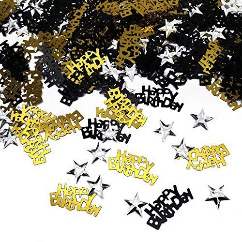 iZoeL Table Confetti Bag 30g incl. Happy Birthday Confetti (240pcs) Silver Star Confetti Sequin(350pcs) for Boys Girls Birthday Party Decoration (Black Gold) -