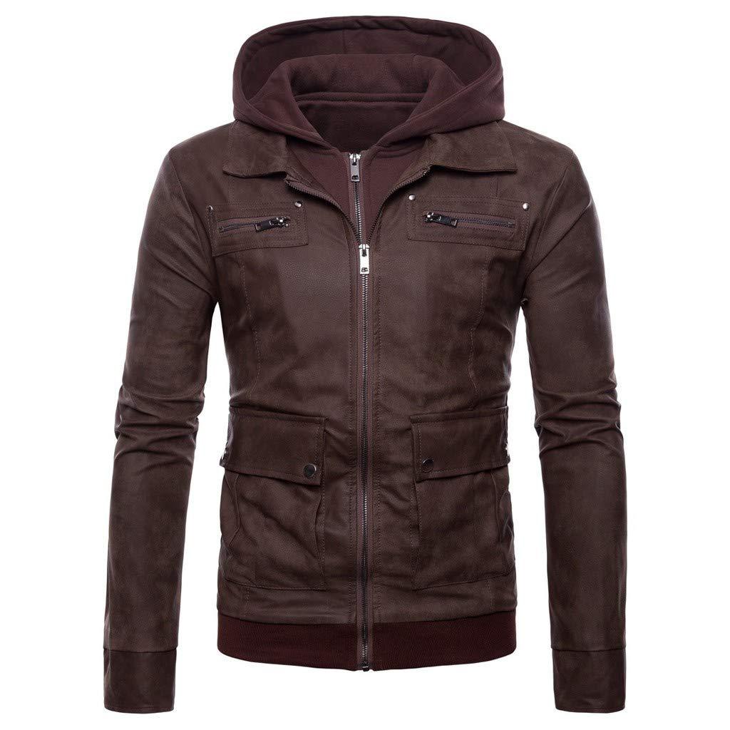 Fitfulvan Men's Faux Leather Jacket Motorcycle Hoodie Jacket PU Outwear Warm Jacket Coffee by Fitfulvan Men's Coat